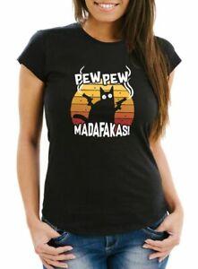 Damen T-Shirt Pew Pew Madafakas Katze Western Cat Meme Slim Fit Moonworks®