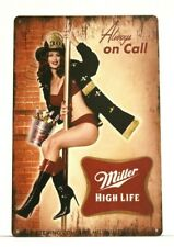 Miller Beer Pinup Girl Tin Poster Sign Bar Man Cave Vintage Ad Style Firefighter