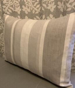 "11.5x15.5"" cushion cover Laura Ashley Awning stripe Dove Grey/Austen Dove Grey"