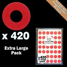 420 x Red hang tag ring/round/hole reinforcement stickers/labels