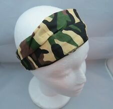 Camo Camouflage Stretchy Fabric 3 in 1 Headband Tan Black and Green Ouchless E