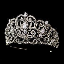 CLOSEOUT! Antique Silver Royal Princess CZ Crystal Bridal Wedding Tiara Crown
