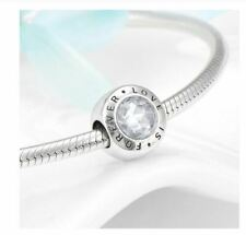 Authentic LOVE IS FOREVER 925 Silver Crystal Charm DIY Original Pandora Bracelet
