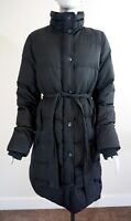 J.CREW Women's Black Down Puffer Knee Length Belted Coat, Zippers & Snaps, Sz M