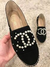 NIB Chanel 17B Black Suede White Pearl CC Double Sole Espadrille Ballet Flat 38