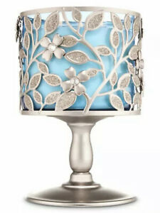 Bath & Body Works Pewter Dogwood Flower 3 Wick Candle Pedestal Holder New