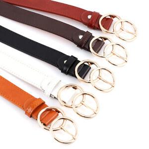 Women Faux Leather Belt Double Ring Buckle Belt Waist Waistband Belts QzB_yk