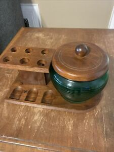 VINTAGE Wood 6 Tobacco Pipe Stand With Green Jar