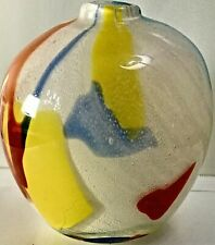 Crate and Barrel Hand Blown Glass Vase Multicolored White Yellow Blue Green Red