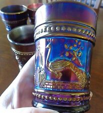 """7 Northwood Peacock at the Fountain  Carnival Glass Tumblers Marked """"N"""""""
