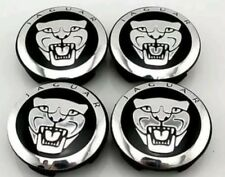 SET OF FOUR NEW BLACK JAGUAR ALLOY WHEEL CENTRE CAPS 59mm XJ XJR XJ6 XF X S TYPE
