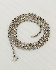 "Vintage 925 Sterling Silver Belcher 24"" 61cm Chain Necklace - 4.3g - (D7H5)"