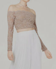 $329 City Studio Juniors' Women's Beige Lace Long Sleeve Off-Shoulder Crop Top 7