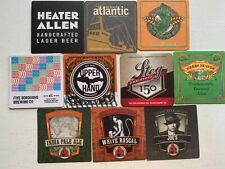 10 CRAFT BEER COASTERS-UPPER HAND,HEATER ALLEN,LOST BOROUGHS,ATLANTIC,SIERRA