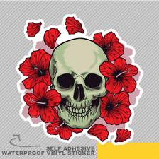 Cranio con fiori rossi e sostanze Adesivo Vinile Decalcomania Finestra Auto Van Bici 2226