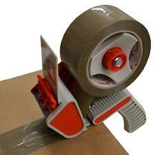 """50mm 2"""" Metal-Packing Tape Parce Hand Dispenser Gun+ 2 Brown RollsTape 48x66M"""