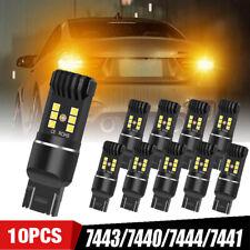 10X 7443 7440 7444 LED Amber Yellow Turn Signal Parking Marker Brake Light Bulbs