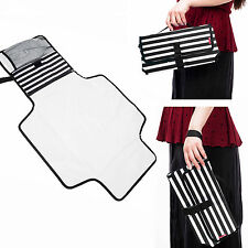 Allis Foldable Travel Changing Mat Changing Pouch Bag Nappy Bag - Black Stripe