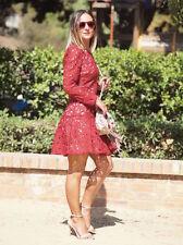 Zara vestido de encaje bordado peplum rojo embroidered Lace guipure Plum dress M L