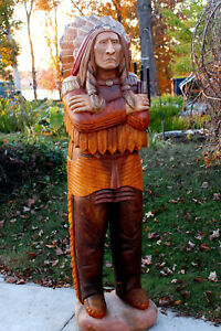 WOODEN INDIAN Wood Cigar Store Chief LIFE SIZE 6' signed, #'ed, dated FREE SHIP