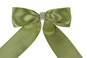 """IVORY Flower Girl Basket with 1.5"""" Satin Bows & Rhinestone Choose Bow Color"""