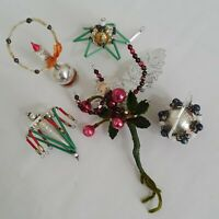 Vintage Pipe Cleaner Wire & Beads Mercury Glass Christmas Ornaments Lot of 5