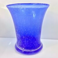 Antique Stourbridge Bubble Glass Celery Vase Cobalt Blue Ground Pontil Cased