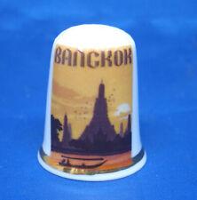 Birchcroft China Thimble - Travel Poster Series - Bangkok - Free Dome Gift Box