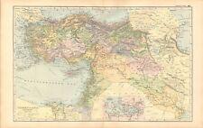 1893 ANTIQUE MAP - TURKEY IN ASIA, IRAN, IRAQ, SYRIA, PALESTINE, ISRAEL, CYPRUS