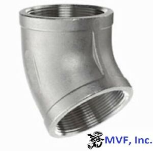 """2-1/2"""" 150 Threaded (NPT) 45° Elbow 304 Stainless Steel Pipe Fitting SS021041304"""
