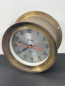 "Vintage 5 3/8"" Brass BOSTON Chelsea Shipstrike Quartz Nautical Ship Clock"