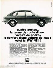 PUBLICITE ADVERTISING 095  1968  La VOLKSWAGEN  VW 411 quatre portes