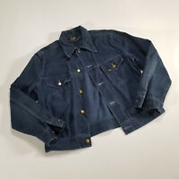 Vintage Lee Dark Blue Soft Denim Jean Jacket Trucker LARGE Button USA 80s/90s