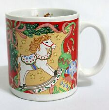 Christmas Coffee Mug 12 Ounce Rocking Horse Ornaments Ribbons Sakura 1992