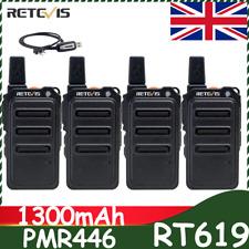 Retevis Walkie Talkie Two Way Radio Pmr446 License Rt619 Vox Tot 1300mah