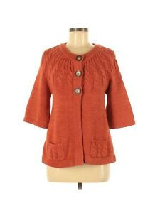 Ruff Hewn Cardigan Sweater Size Small Orange 3 Button Partial Cable Knit