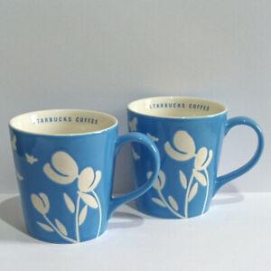 Starbucks Mugs - 2007 Coffee Flower & Butterfly Patterned Blue & White Mugs x 2
