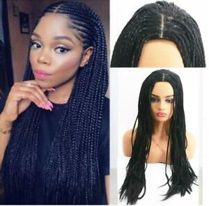 Women Long Two Braided Black Wigs Braids Hair Synthetic None Lace Wig for Women