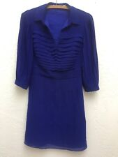 Karen Millen Royal Cobalt Blue Pleat Front Dress Career/Occasion UK 8 US 4