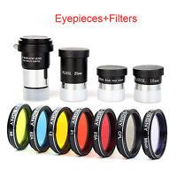 "1.25"" Plossl Eyepiece Set 4/10/25mm+2X Barlow Lens+Color Filters for Telescope"