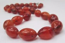 HAND KNOTTED ANTIQUE OLD CHINESE NECKLACE GRADUATED OVAL CARNELIAN AGATE BEADS