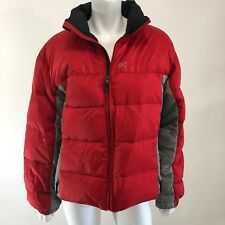 Burton AK Goose Down Puffer Coat Jacket Large Red Gray Color Block Lined Warm