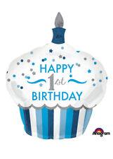 Blue 1st Birthday Cupcake SuperShape Helium Balloon