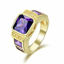 18K Gold Filled Amethyst Engagement Ring Jewelry Size 9 For Fashion Mens Wedding