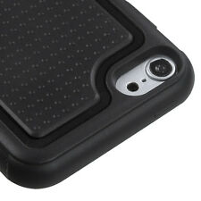 For iPod Touch 5th 6th Generation HARD GUMMY GEL CASE SKIN COVER BLACK KICKSTAND