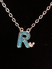 Disney Letter / Initial R Pendant Necklace with Mickey Crystal Ears Silver Tone