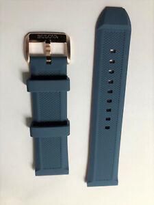 Original Bulova Marine Star 98A227 24mm Blue Rubber Watch Band Strap with Buckle