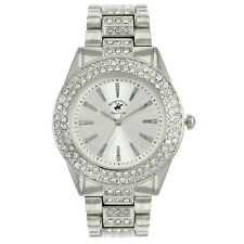US Beverly Hills Polo Club Women's Rhinestone Accented Dial Silver-Tone Watch