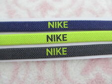 Nike Elastic Hairbands Headbands 3 Piece Purple/Volt/Anthracite Black - New
