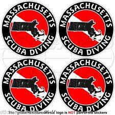 MASSACHUSETTS SCUBA DIVING Flag-Map Shape USA 50mm Circular Stickers Decals x4